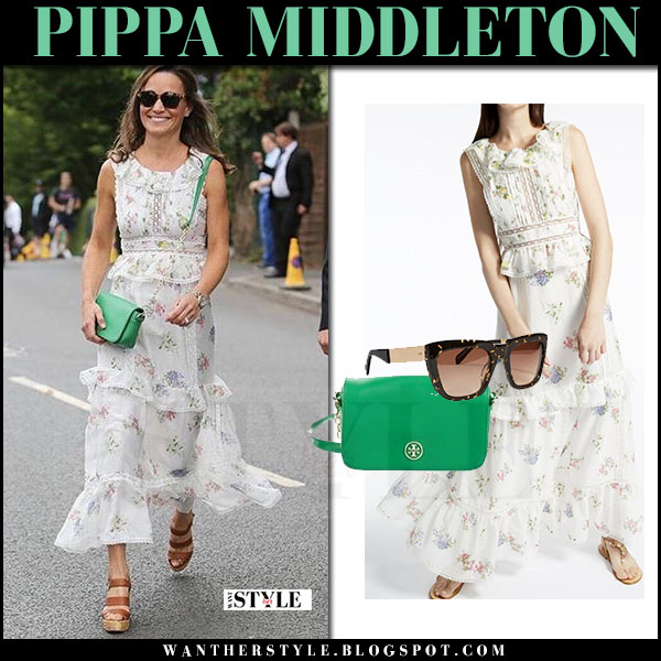 Pippa Middleton in white floral print tiered dress max mara wimbledon july 16 2017 outfit what she wore