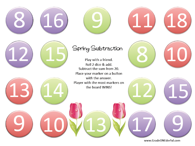 Spring Subtraction Game: www.GradeONEderful.com