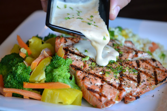Salmon with Sour Cream Dressing and Mixed Steamed Veggies
