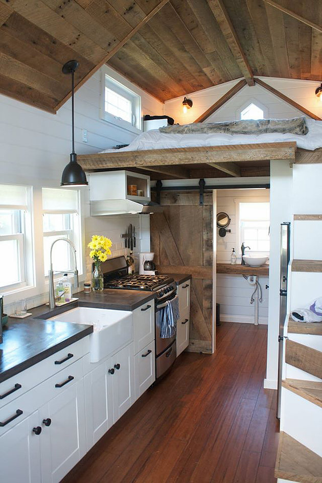 Tiny House Farmhouse Kitchen and Bedroom loft