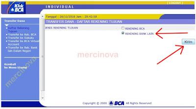 Pilih Input Rekening Bank Lain untuk transfer dari BCA