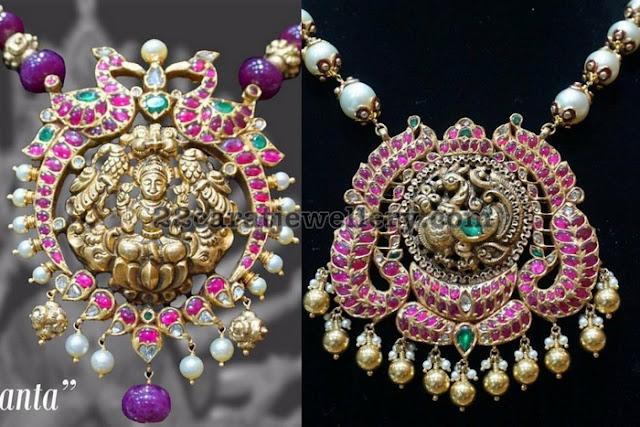 Ruby Peacock Lakshmi Pendants