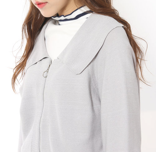 Zip-Up Wide Collar Jacket