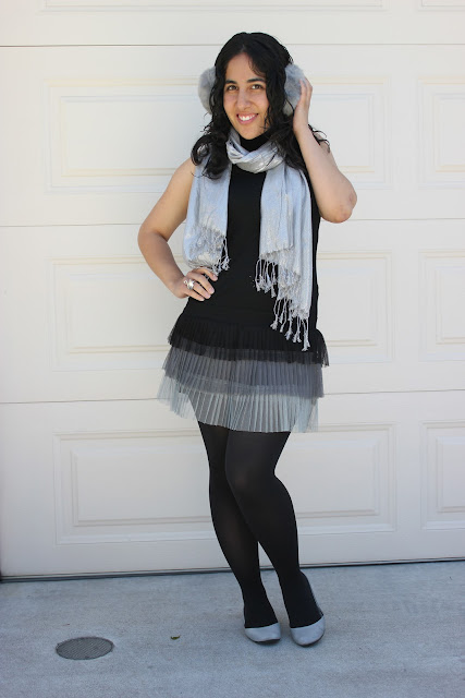 Silver and Black Pleated Ombre Dress Outfit
