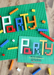 LEGO-themed party invitations
