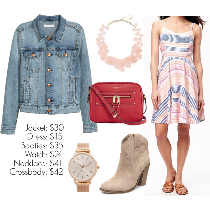 Denim jacket over a sundress, booties, fall outfit ideas, what to wear for fall