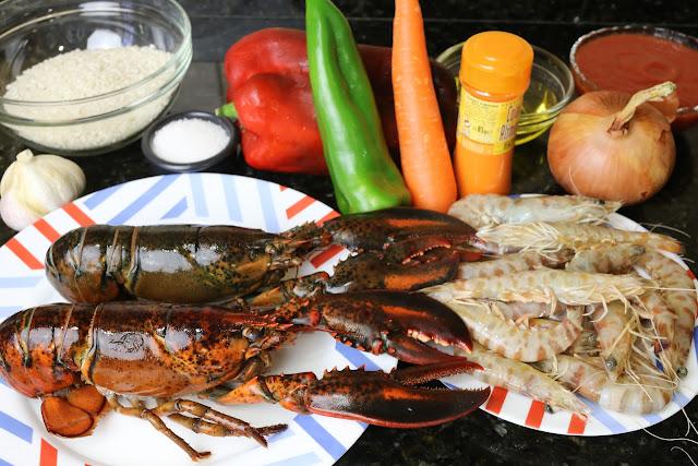 Ingredientes para arroz con bogavante y langostinos