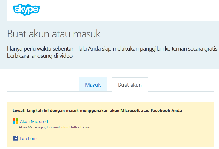 cara daftar akun skype