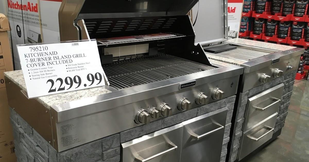 Kitchenaid Seven Burner Outdoor Island Gas Grill Model 860 0003 With Rotisserie Burner Costco Weekender