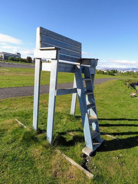 Giant chair in Vatnsmýri in Reykjavik Iceland