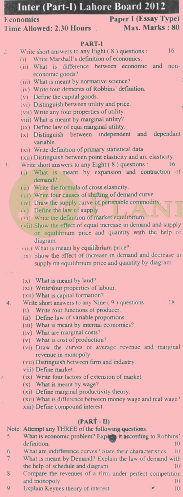 Past Papers of Economics Inter Part 1 Lahore Board 2012 in English