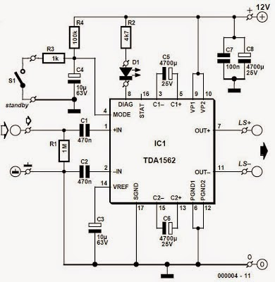 Using TDA1562Q 54 W Circuit Diagram