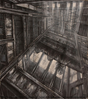 charcoal and ink drawing of interior of the Boiler House, White Bay Power Station by industrial heritage artist Jane Bennett