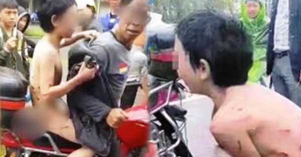 2u4YjYz Little Boy Was Tied To Father's Motorbike And Was Dragged Through The Streets As Punishment For Being Too Naughty