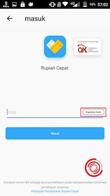 Lalu klik Dapatkan Kode untuk masuk ke akun Rupiah Cepat yang sudah kita daftarkan untuk mendapatkan bonus Rp. 50.000. Setelah mendapatkan kode lalu klik Masuk
