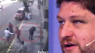Jorge Lanata, mostró las imágenes de las cámaras de seguridad que captaron el hecho. El agresor le habría gritado 'Oligarcas, hay hambre en la Argentina. Trabajan para Macri'.