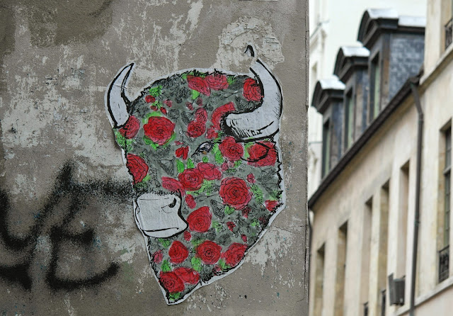 Paris street art graffiti bull