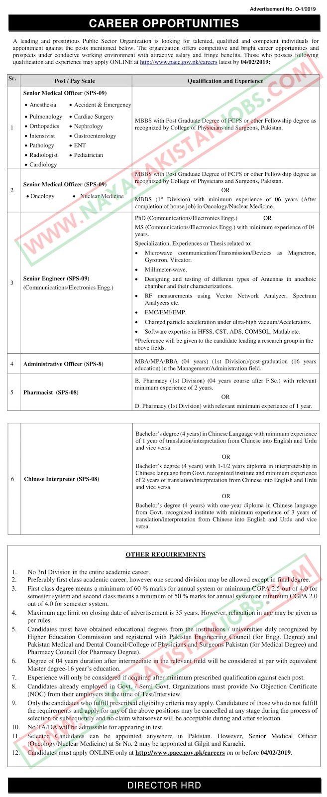 Atomic Energy Jobs 2019 | Paec Latest Jobs - Naya Pakistan Jobs