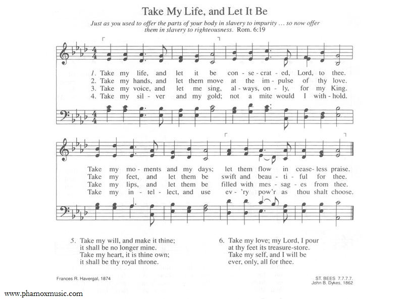 Hymn Take My Life And Let It Be Phamox Music