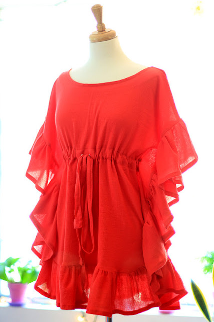 Red Ruffle Mini Caftan by Mademoiselle Mermaid