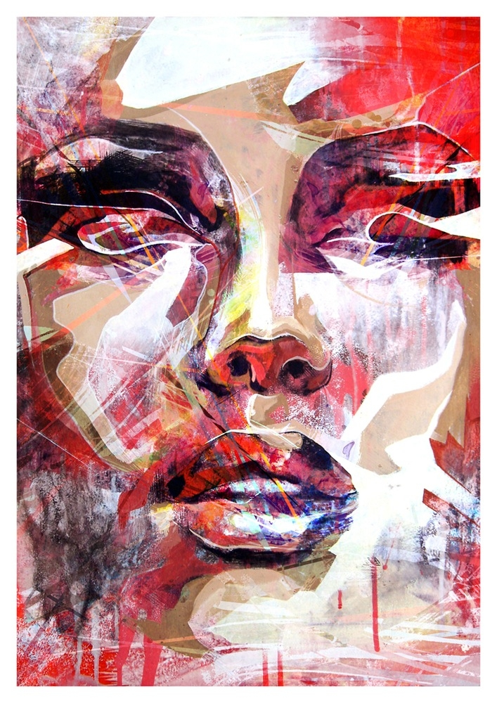 11-Red-Portrait-Danny-O-Connor-DOC-ART-Contrast-in-Stylised-Abstracted-Portrait-Paintings-www-designstack-co