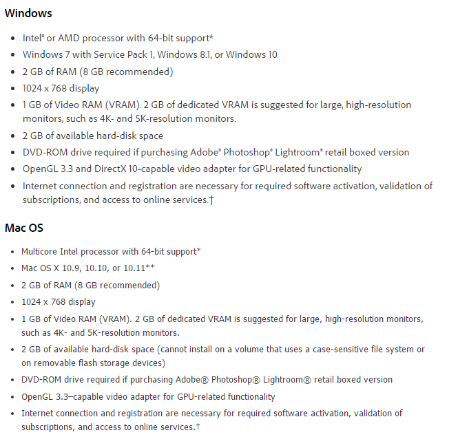 Adobe Photoshop Lightroom CC 2015 System Requirements