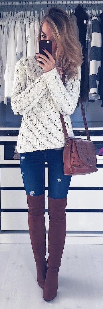 beautiful outfit / white knit sweater + bag + rips + over the knee boots