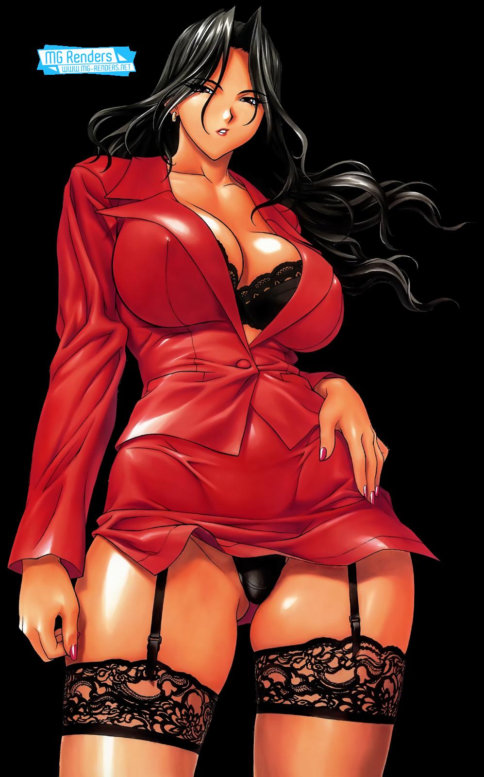 Tags: Anime, Render,  Bra,  Dark skin,  Huge Breasts,  Inoue Takuya,  Original Character,  Pantsu,  Skirt,  PNG, Image, Picture