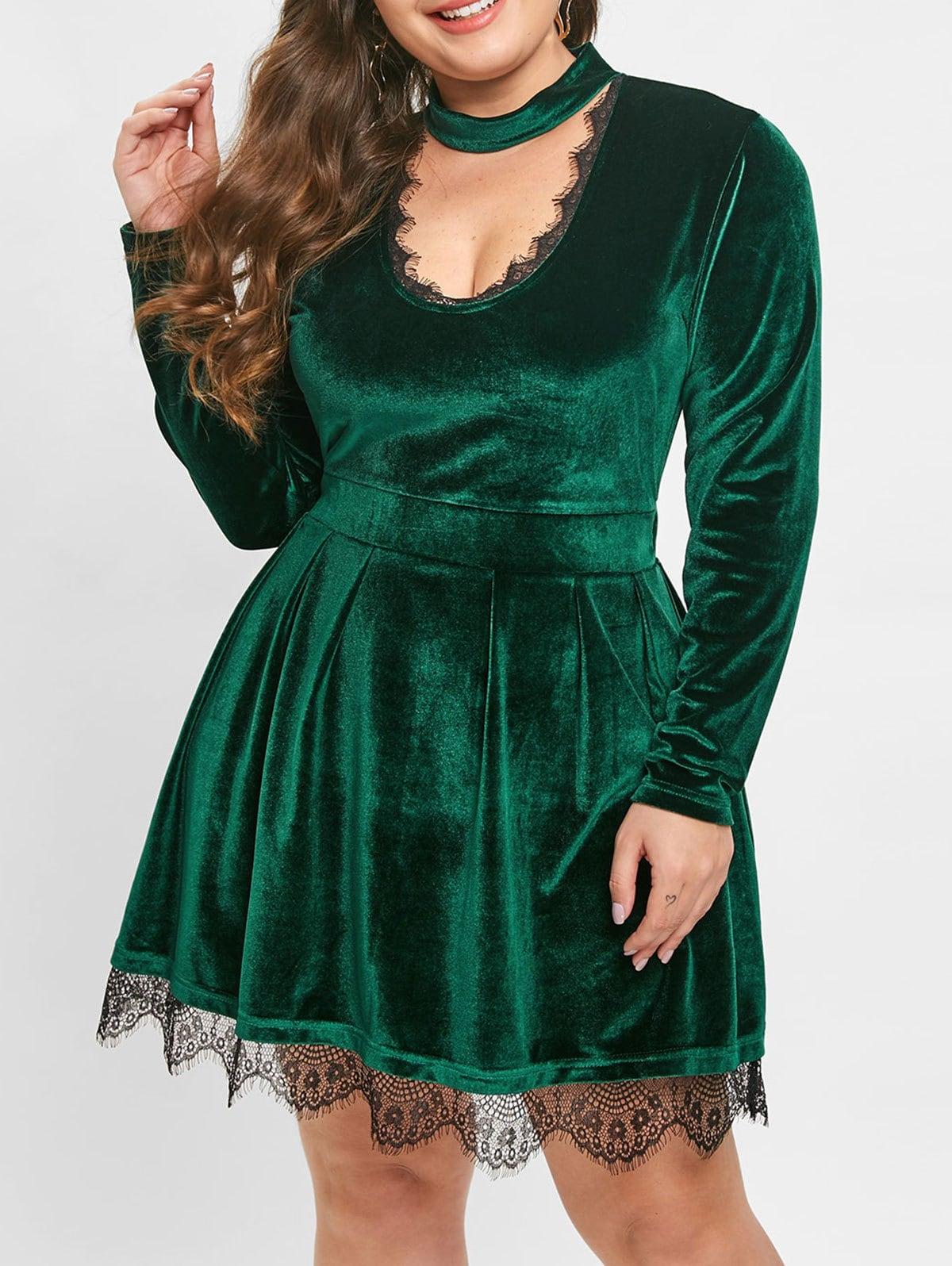 Plus Size Lace Trim Long Sleeves Choker Neck Velvet Mini Dress