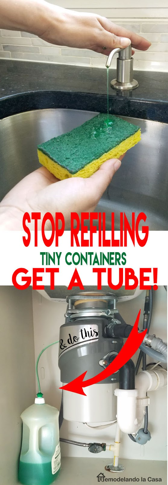 How to getting rid of the little soap dispenser and install a tube to a big container or soap under the sink