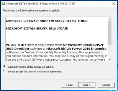 BizTalk feature Pack1 installer wizard page 2 Accept agreement