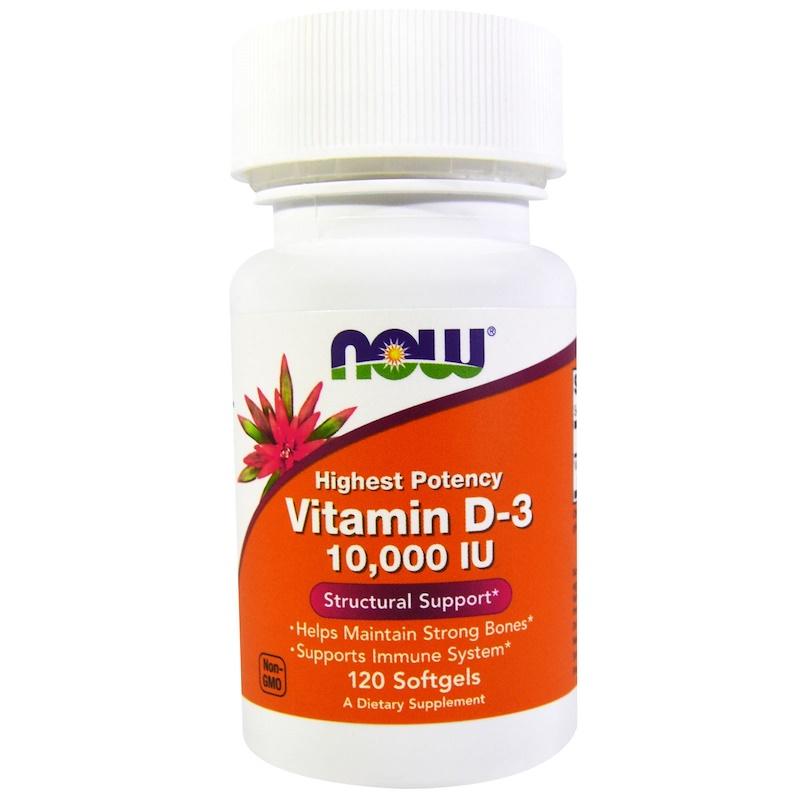 Now Foods, Витамин D3,10 000 МЕ, 120 желатиновых капсул