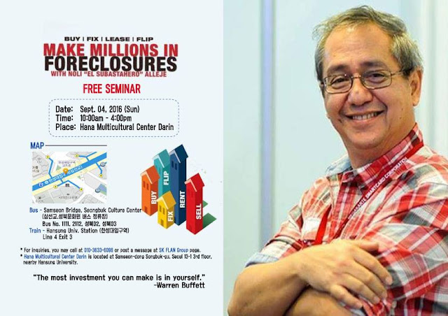 Join Free Seminar in Korea About Investing in Foreclosure Properties in the Philippines