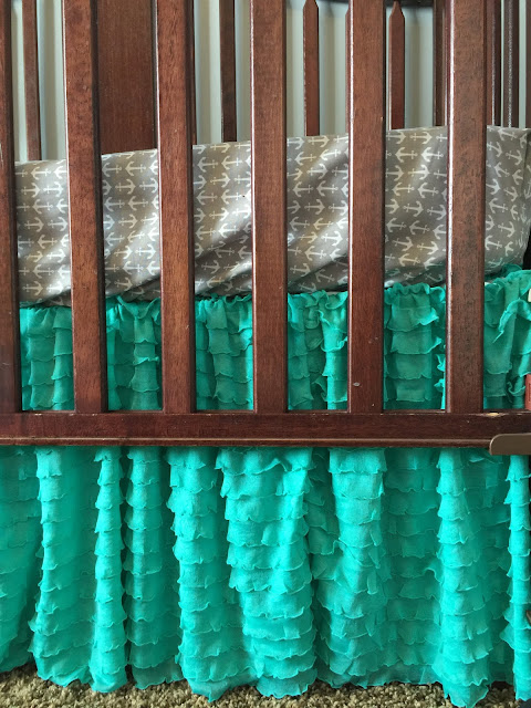 Mint Ruffle Crib Skirt