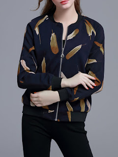 Black Long Sleeve Printed Polyester Bomber Jacket