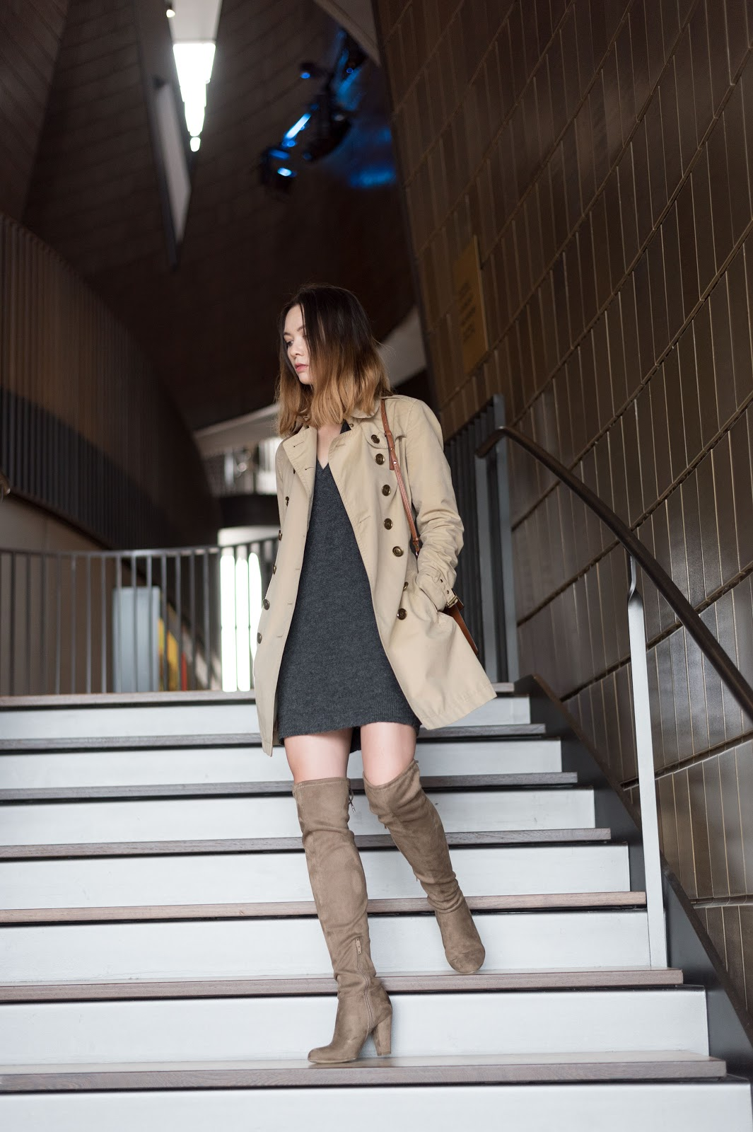 burberry trench, chloe faye, over the knee boots, studio bell, calgary
