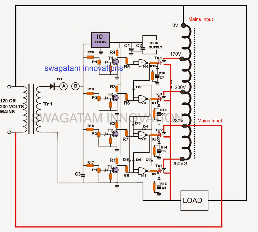 v guard ups circuit diagram v guard voltage stabilizer circuit diagram
