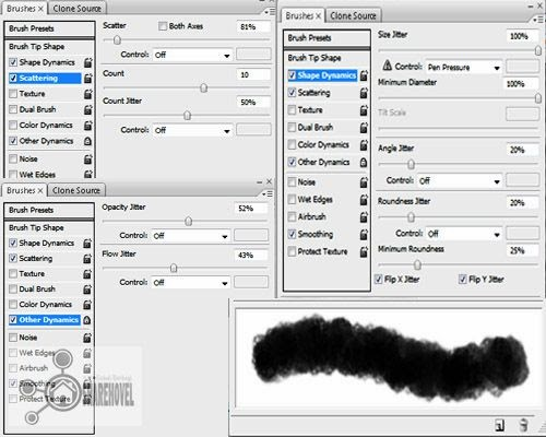 setting pengaturan brush pada menu window brushes atau tekan f5 - Membuat Efek Meteor di Photoshop