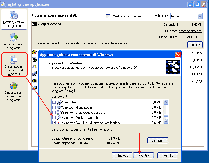 Windows XP- Eliminare Windows Desktop Search