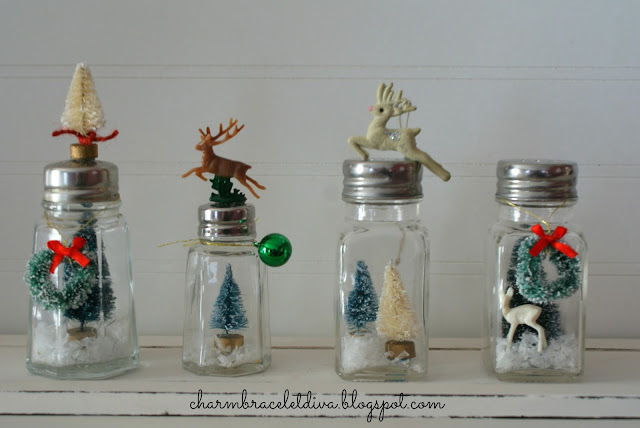 DIY vintage salt and pepper shaker snow globes bottle brush tree reindeer faux snow