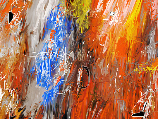 abstract painting, contemporary art, digital painting, modern art, wall art, orange painting, artwork, artist, Sam Freek,