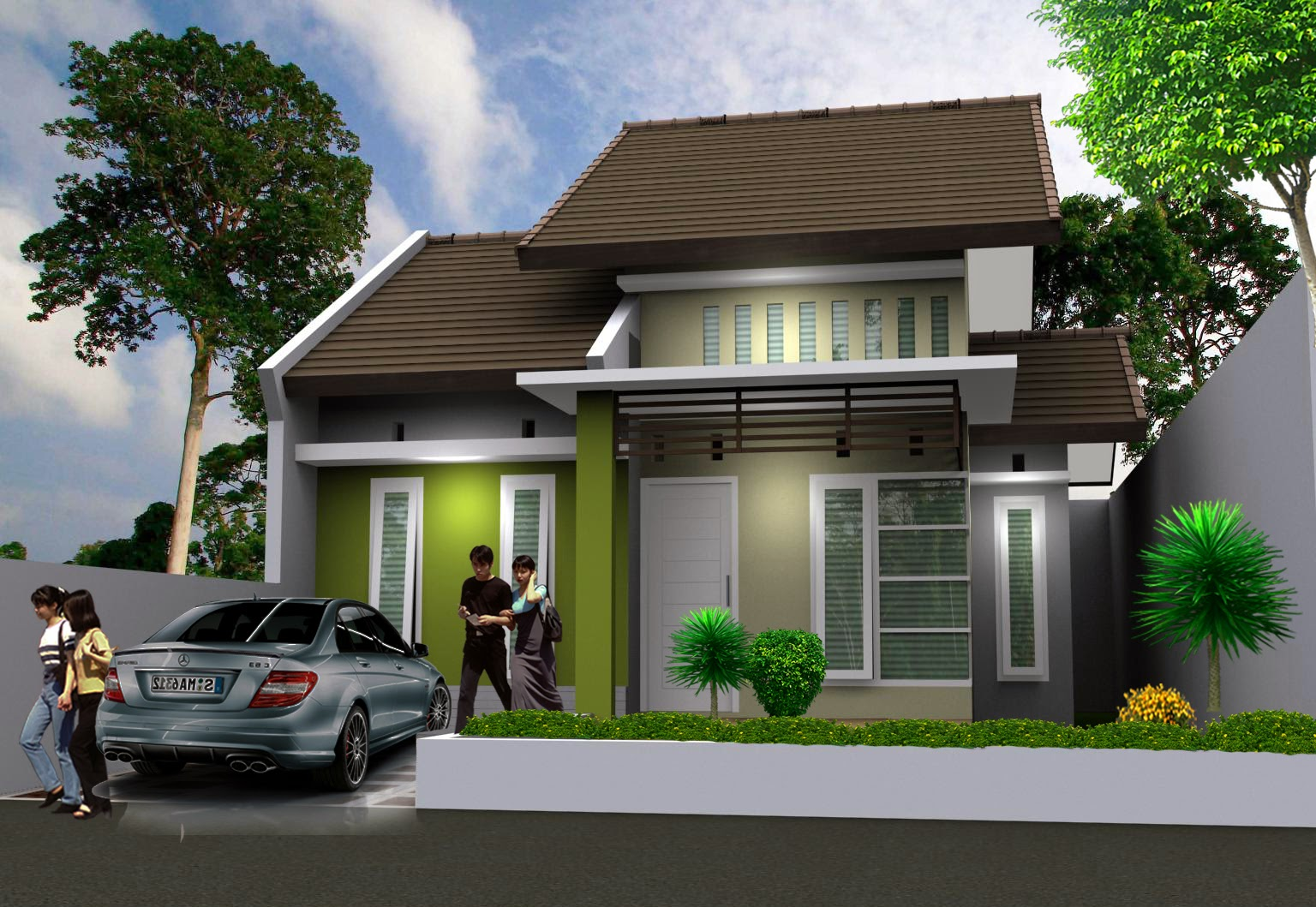 Desain Rumah Type 60 Tampak Depan