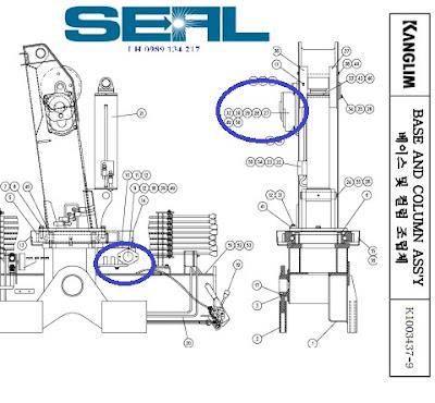 cụm tời cần cẩu kanglim 3 tan KS735-KS734-KS733-motor-S1020078-REDUCER- SWING-S1180136