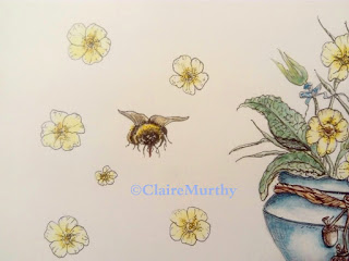 Watercolour and Ink Bee Illustration. Bee Art Workshops.