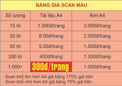 bảng giá scan tài liệu giá rẻ tại hà nội