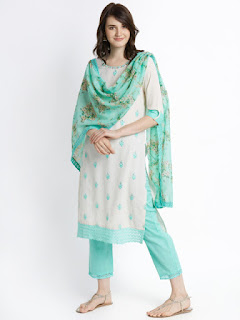 TRISHAA BY PANTALOONS Women Off-White & Turquoise Blue Embroidered Kurta with Palazzos & Dupatta