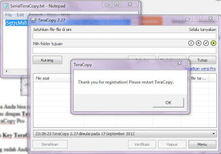 Gambar Enter Registration TerraCopy