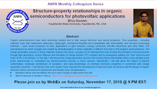 Dr. Bhoj Gautam's Talk on Structure-property relationships in organic semiconductors for photo-voltaic applications