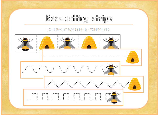 Free bee themed cutting strips by Welcome to Mommyhood #montessori, #preschool, #montessoriactivities, #springactivities