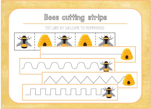 Free bee themed cutting strips by Welcome to Mommyhood #montessori, #preschool, #montessoriactivities, #springactivities